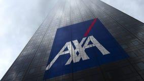 AXA logo på reflekterande moln för en skyskrapafasad Redaktörs- tolkning 3D Arkivbilder