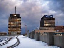 AXA y Mony Towers Fotos de archivo libres de regalías