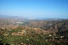 Axarquia countryside, Andalusia, Spain. View from mountains looking East towards Velez Malaga and the coast, Montanas de Malaga, Axarquia region, Malaga Royalty Free Stock Images