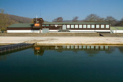 Axbridge Cheddar Reservoir Yacht clubhouse Stock Photo