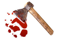 Axe. Instrument of crime axe in puddle blood, lie in white background, isolated stock photos