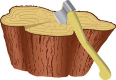 Axe. The axe thrust in log, pending the person who will cut fire wood Vector Illustration