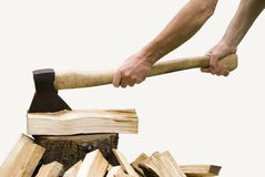 Axe 7. Hand and axe with white background Stock Photos