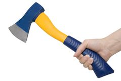 Axe. Blue and yellow axe in hand against white background stock photo