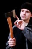 Axe. Dander man with an axe stock photos