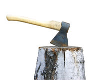 Axe and birch log on white Royalty Free Stock Photography