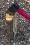 Axe in Block of Wood Royalty Free Stock Photography