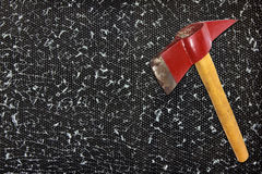 Axe and broken glass. Industries background royalty free stock photo