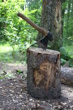 Axe, Chop firewood. Forest near Moscow city Stock Photo