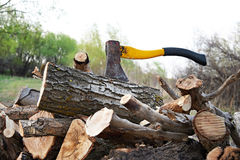 Axe with chopped wood. On summer landscape Royalty Free Stock Photography