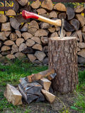 Axe on chopping block Royalty Free Stock Photo