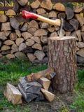 Axe on chopping block Royalty Free Stock Photo
