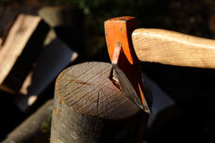 Axe chopping close up Stock Image