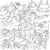 Axe chopping firewood. Black-and-white illustration (coloring page): axe chopping firewood on a stub Royalty Free Stock Photos