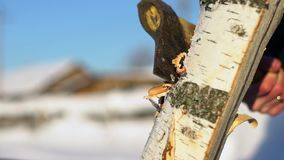 Axe chopping log. Chopping wood in the winter. Splinters of wood. An unknown man chops wood in the winter. Lumberjack chopping wood. Firewood in winter. Axe stock footage
