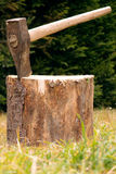 Axe in a chunk. Taken in nature Stock Photos