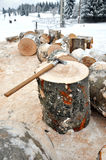Axe on a chunk of firewood in the snow Royalty Free Stock Image