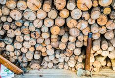 Axe cut firewood stock image