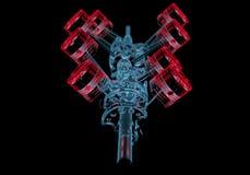 Axe détraqué avec des pistons (transparents rouges et bleus de rayon X 3D) Images libres de droits