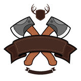 Axe emblem. Outdoor themed emblem with axe and ribbon graphic Stock Images