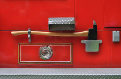 Axe on a fire truck Royalty Free Stock Images