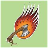 Axe on fire. Vector sticker Stock Photos