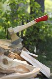 Axe and fire wood. Royalty Free Stock Photography