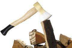 Axe and firewood, close-up Stock Photos