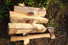 Axe and firewood Royalty Free Stock Image