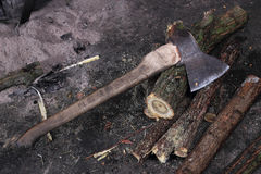 Axe and firewood Royalty Free Stock Photography