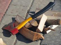 Axe and firewood Stock Image