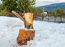 Axe for firewood Stock Images