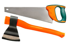 Axe and hacksaw royalty free stock images