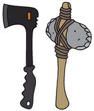 Axe. Hand drawing of modern and stone age axes Stock Image