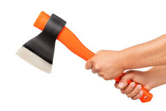 Axe in hand stock image