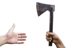 Axe in hand Royalty Free Stock Images