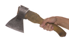 Axe on hand on white closeup Stock Image
