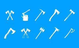Axe icon blue set vector. Axe icon set. Simple set of axe vector icons for web design isolated on blue background Stock Images