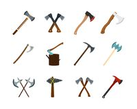 Axe icon set, flat style. Axe icon set. Flat set of axe vector icons for web design isolated on white background Stock Photos