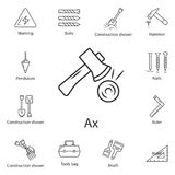 Axe icon. Simple element illustration. Axe symbol design from Construction collection set. Can be used for web and mobile. On white background Stock Photography