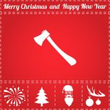 Axe Icon Vector. And bonus symbol for New Year - Santa Claus, Christmas Tree, Firework, Balls on deer antlers Stock Photos