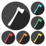 Axe Icons set with long shadow. Vector icon Royalty Free Stock Photography