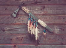 Axe indians on a wooden wall Royalty Free Stock Photography