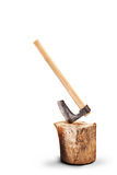 Axe inserted into a log isolated on white background Royalty Free Stock Images