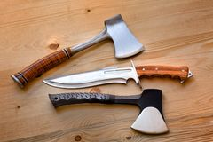 Axes, knife tools for crafts, survival, woodcutter, camping and outdoor life Royalty Free Stock Image