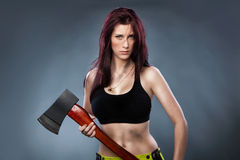 Axe Lady Stock Photo