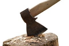 Axe in log Stock Photography