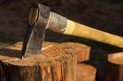Axe in log Stock Photo