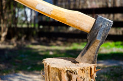 Axe in log Royalty Free Stock Images