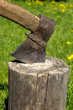 Axe in log Royalty Free Stock Photography